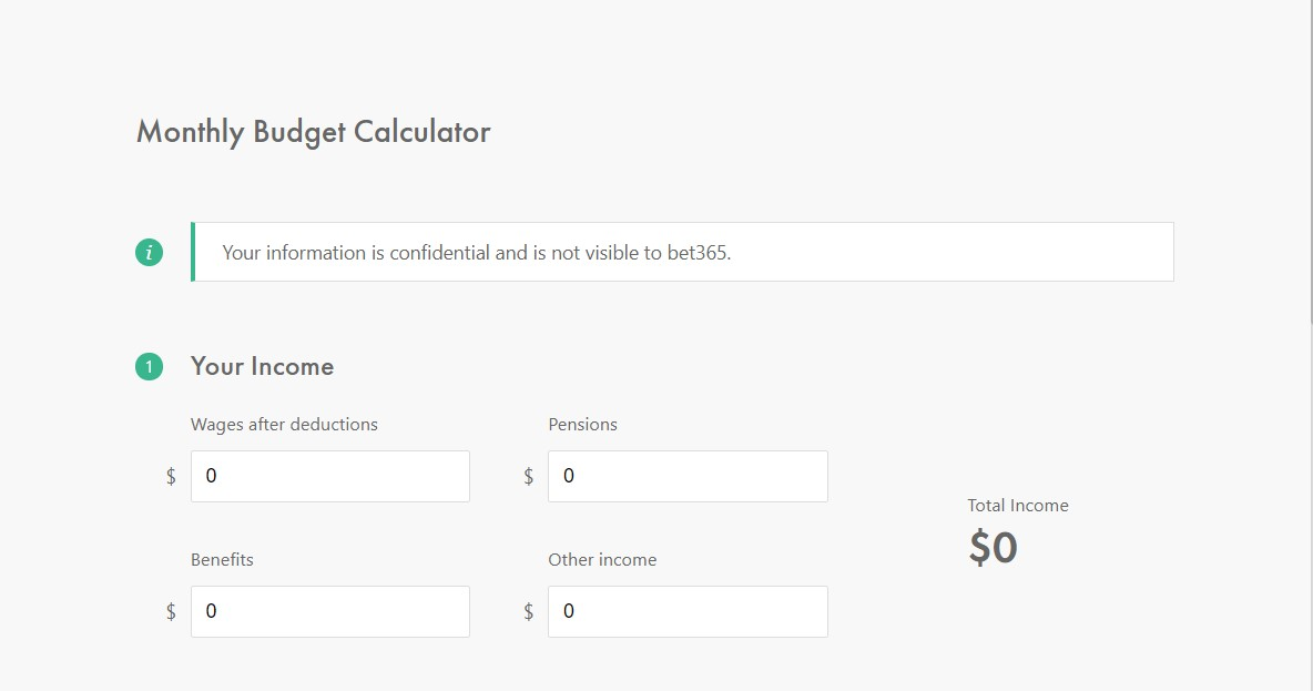 Bet365 budget calculator