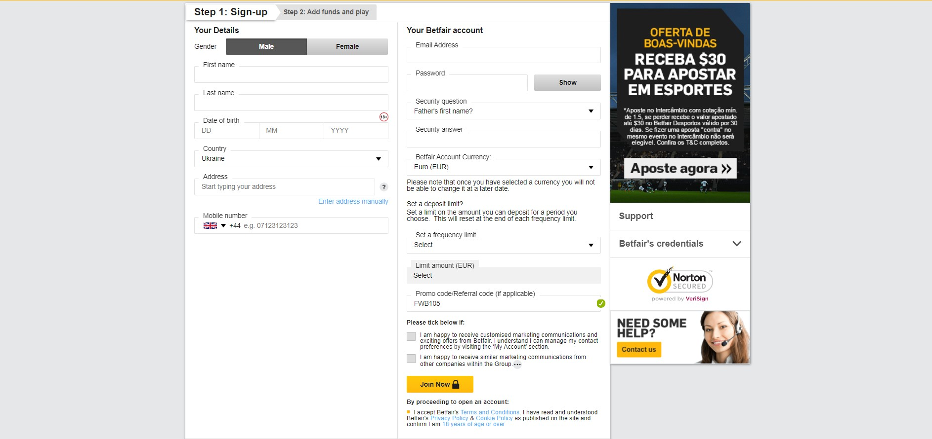 Betfair sign-up