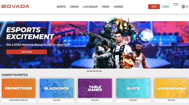 Bovada.Com main page