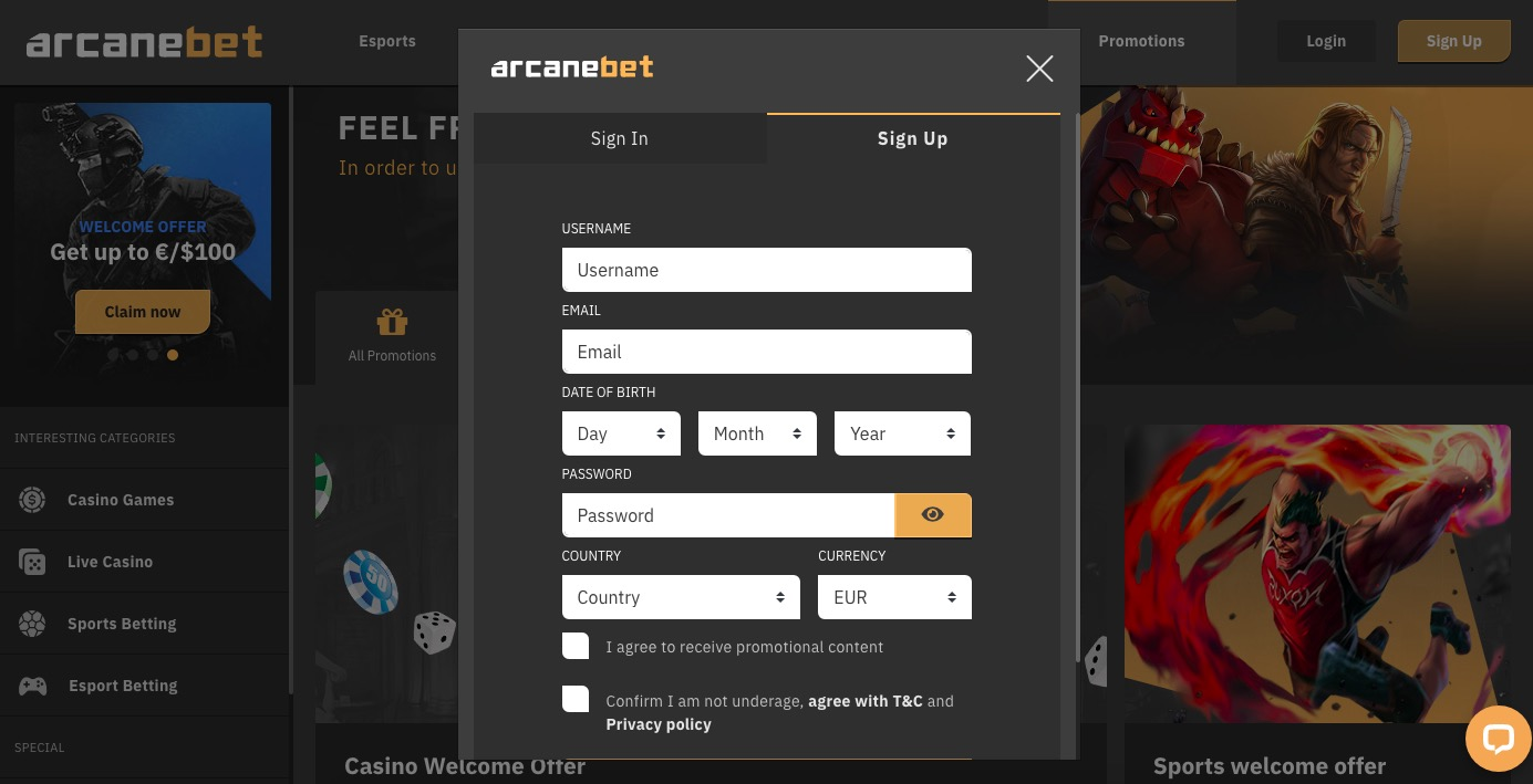 ArcaneBet sign up