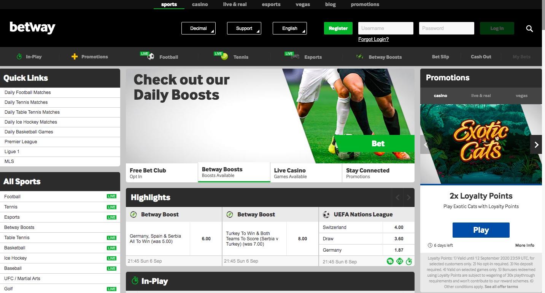 Betway main page