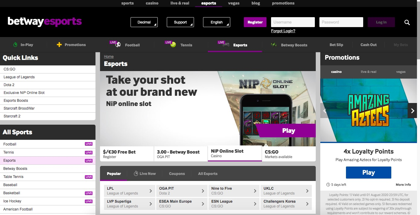 Betway main page esport