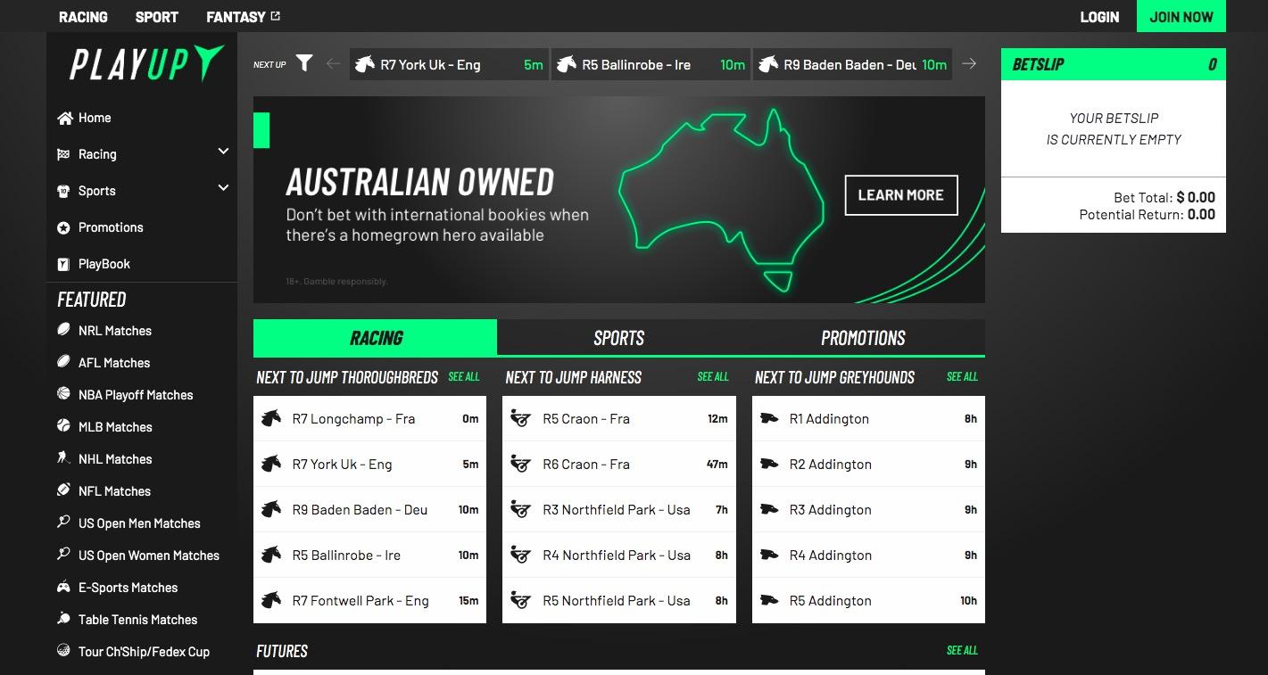 Playup main page