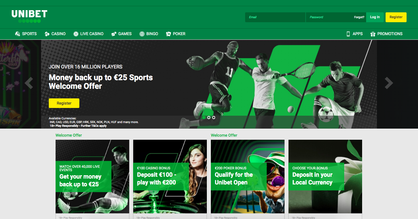 Unibet main page